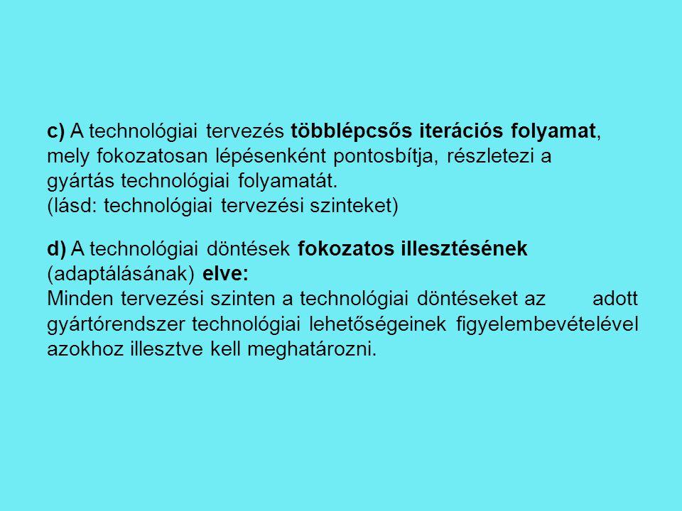 c) A technológiai tervezés többlépcsős iterációs folyamat,