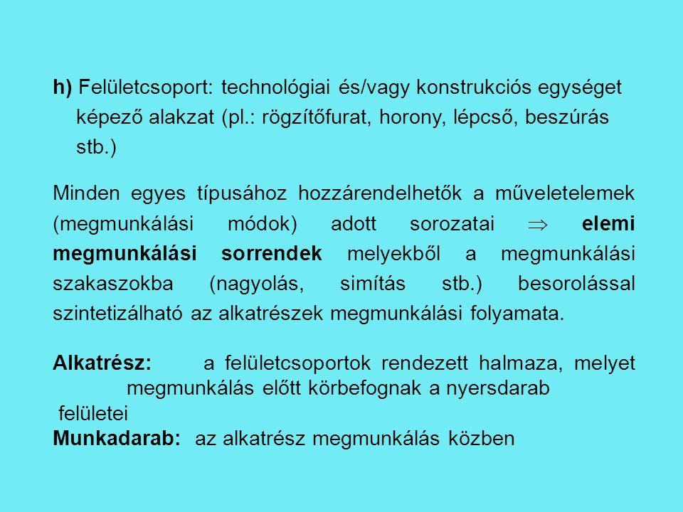 h) Felületcsoport: technológiai és/vagy konstrukciós egységet