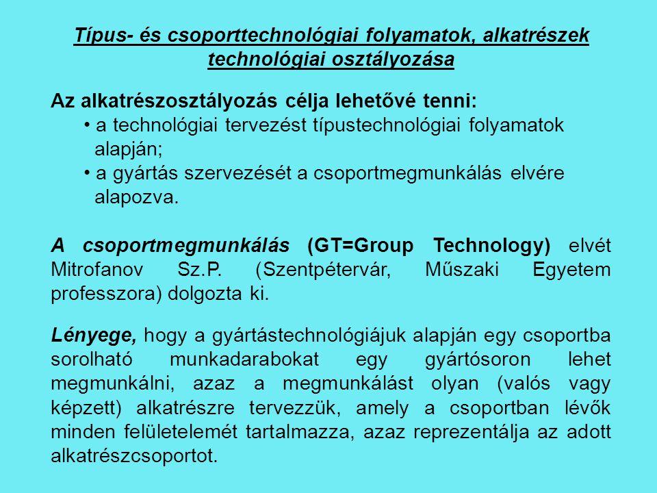 Típus- és csoporttechnológiai folyamatok, alkatrészek technológiai osztályozása