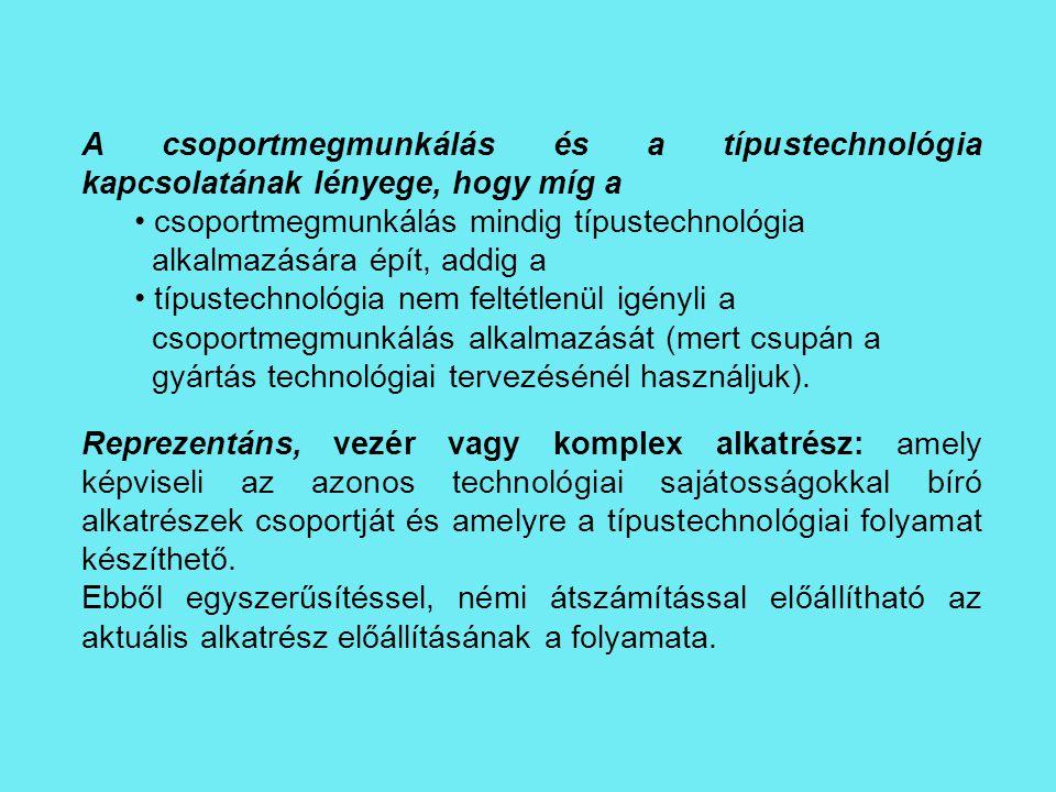 A csoportmegmunkálás és a típustechnológia kapcsolatának lényege, hogy míg a