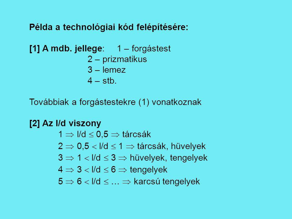 Példa a technológiai kód felépítésére:
