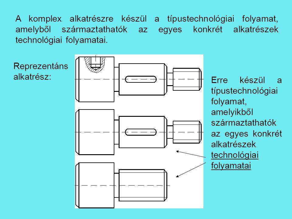 A komplex alkatrészre készül a típustechnológiai folyamat, amelyből származtathatók az egyes konkrét alkatrészek technológiai folyamatai.