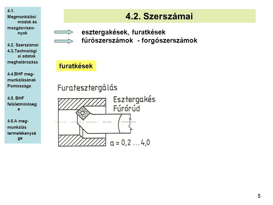 4.2. Szerszámai esztergakések, furatkések