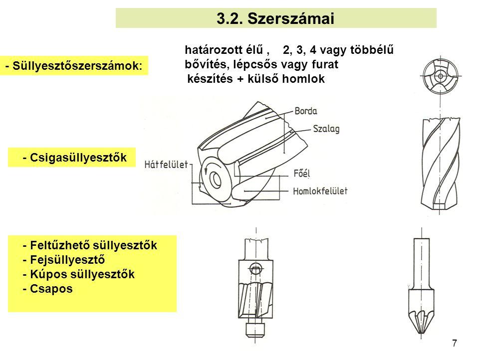 3.2. Szerszámai határozott élű , 2, 3, 4 vagy többélű