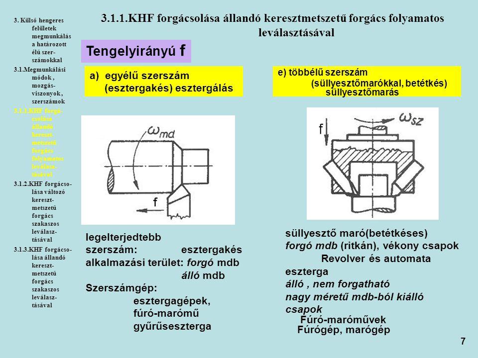 3. Külső hengeres felületek megmunkálása határozott élű szer-számokkal