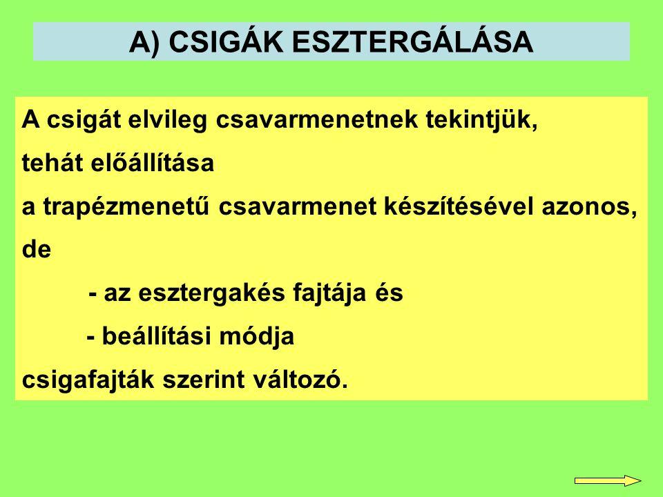 A) CSIGÁK ESZTERGÁLÁSA
