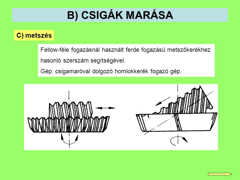 B) CSIGÁK MARÁSA C) metszés