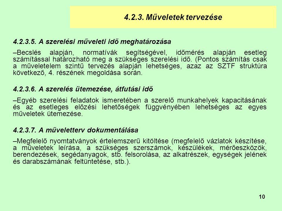 4.2.3. Műveletek tervezése 4.2.3.5. A szerelési műveleti idő meghatározása.
