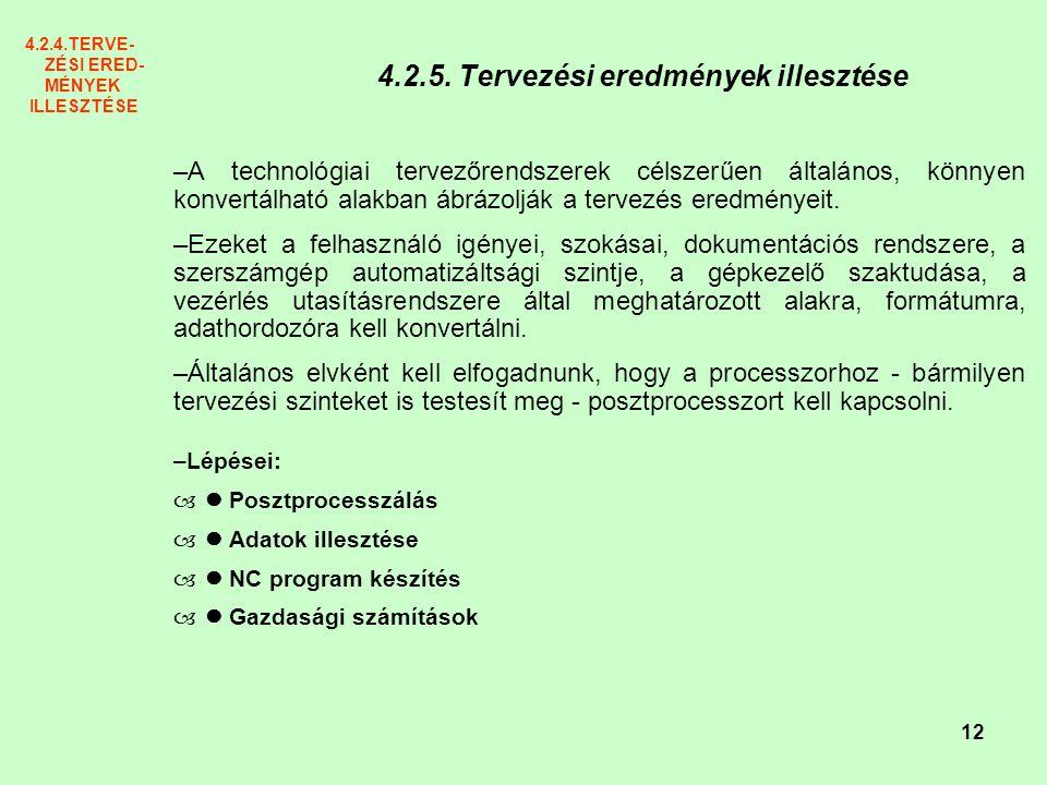 4.2.5. Tervezési eredmények illesztése
