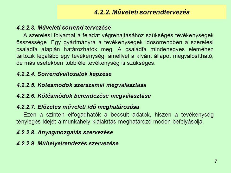4.2.2. Műveleti sorrendtervezés