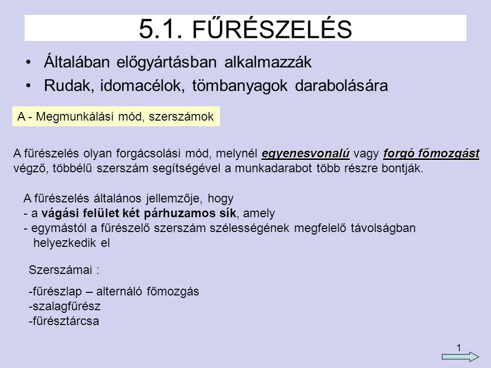 5.1. FŰRÉSZELÉS Általában előgyártásban alkalmazzák