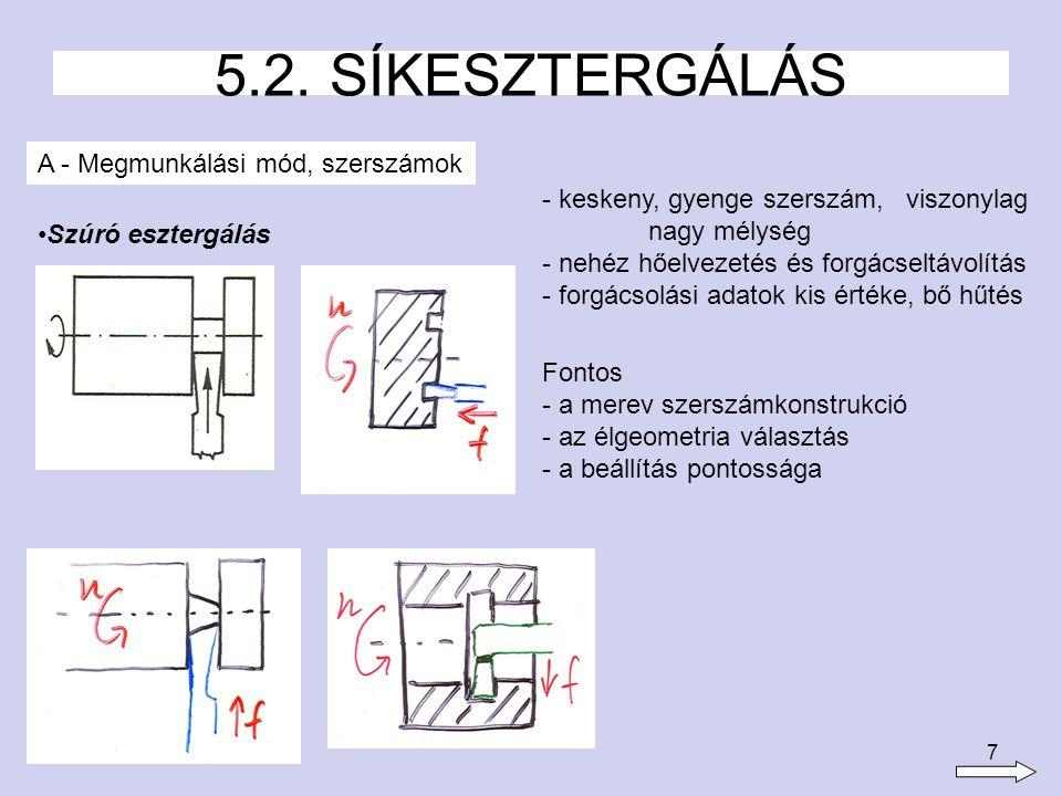 5.2. SÍKESZTERGÁLÁS A - Megmunkálási mód, szerszámok