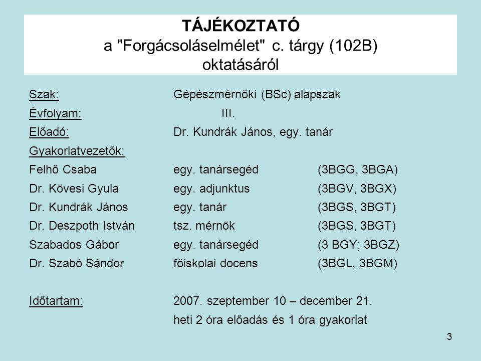 TÁJÉKOZTATÓ a Forgácsoláselmélet c. tárgy (102B) oktatásáról