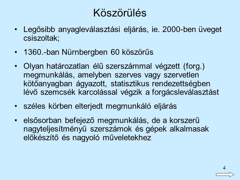 Köszörülés Legősibb anyagleválasztási eljárás, ie. 2000-ben üveget csiszoltak; 1360.-ban Nürnbergben 60 köszörűs.