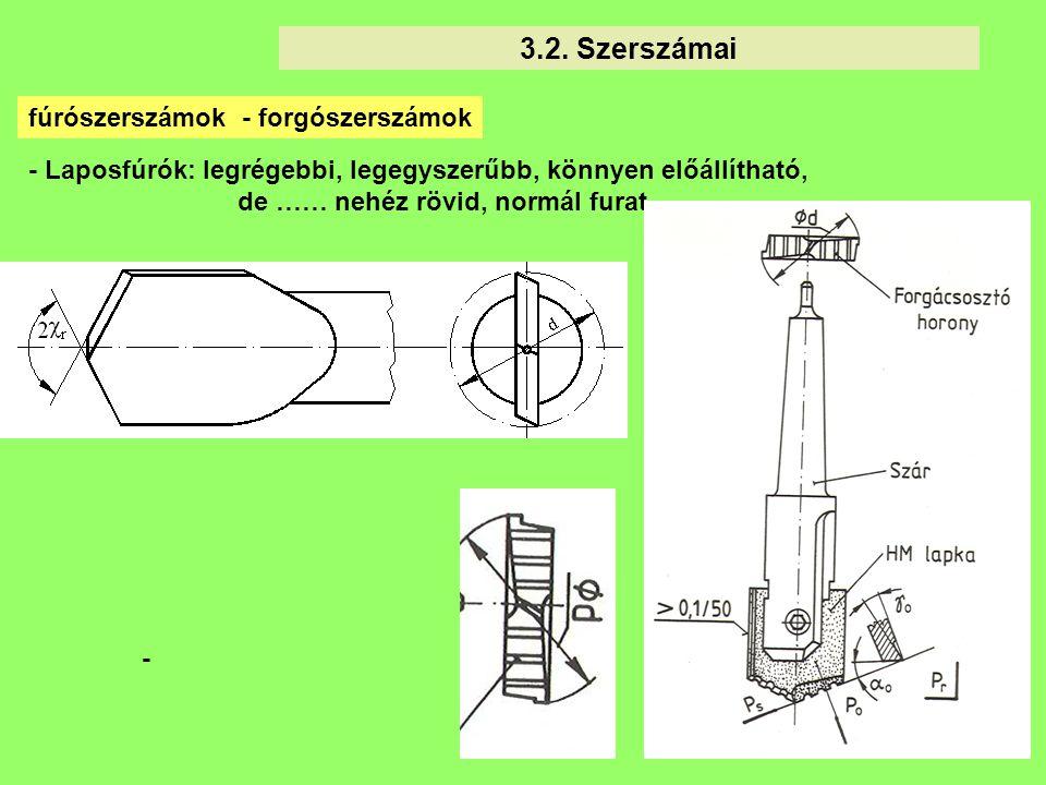 3.2. Szerszámai fúrószerszámok - forgószerszámok