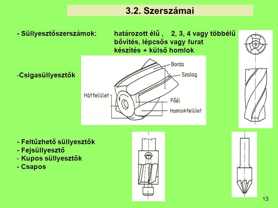 3.2. Szerszámai - Süllyesztőszerszámok: határozott élű , 2, 3, 4 vagy többélű. bővítés, lépcsős vagy furat.