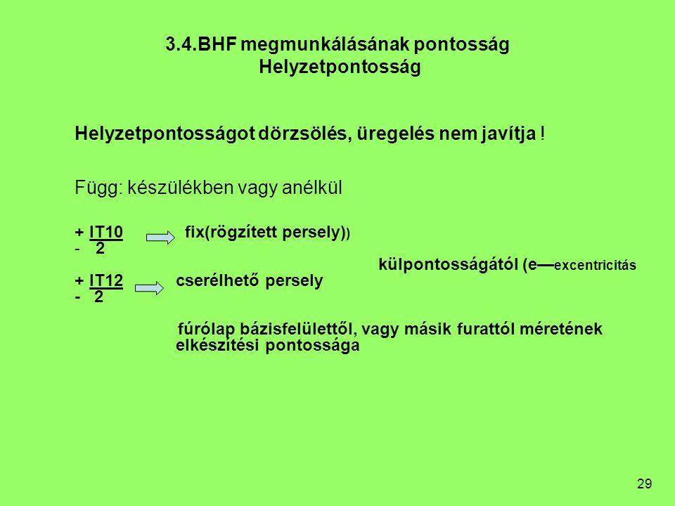 3.4.BHF megmunkálásának pontosság Helyzetpontosság