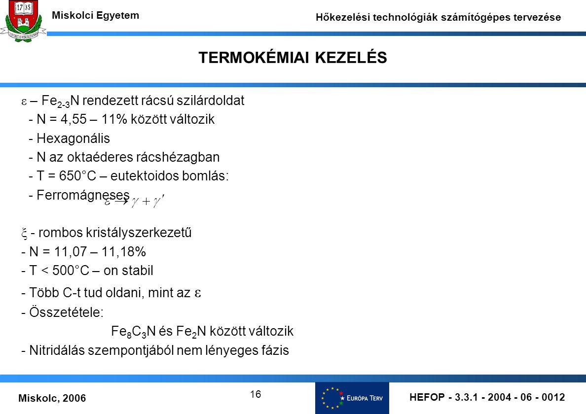 TERMOKÉMIAI KEZELÉS ε – Fe2-3N rendezett rácsú szilárdoldat