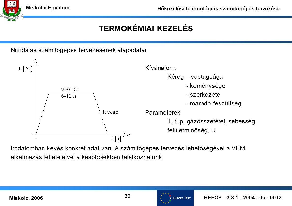 TERMOKÉMIAI KEZELÉS Nitridálás számitógépes tervezésének alapadatai