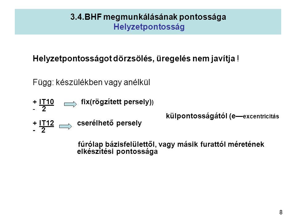 3.4.BHF megmunkálásának pontossága Helyzetpontosság