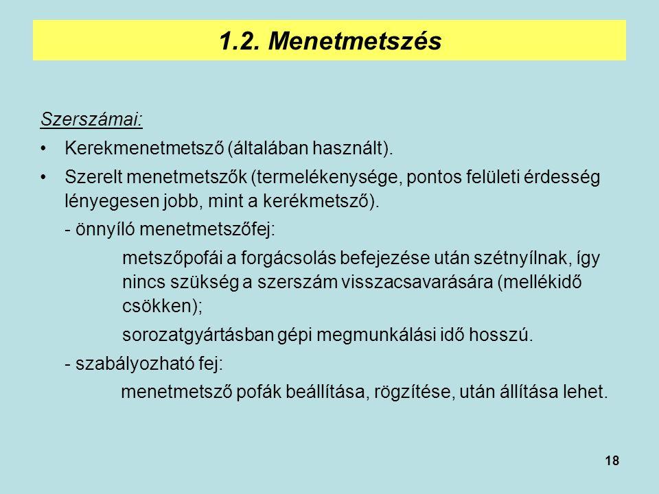 1.2. Menetmetszés Szerszámai: Kerekmenetmetsző (általában használt).
