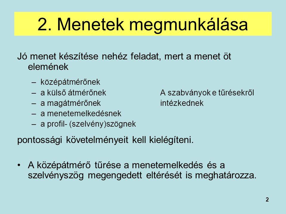 2. Menetek megmunkálása Jó menet készítése nehéz feladat, mert a menet öt elemének. középátmérőnek.
