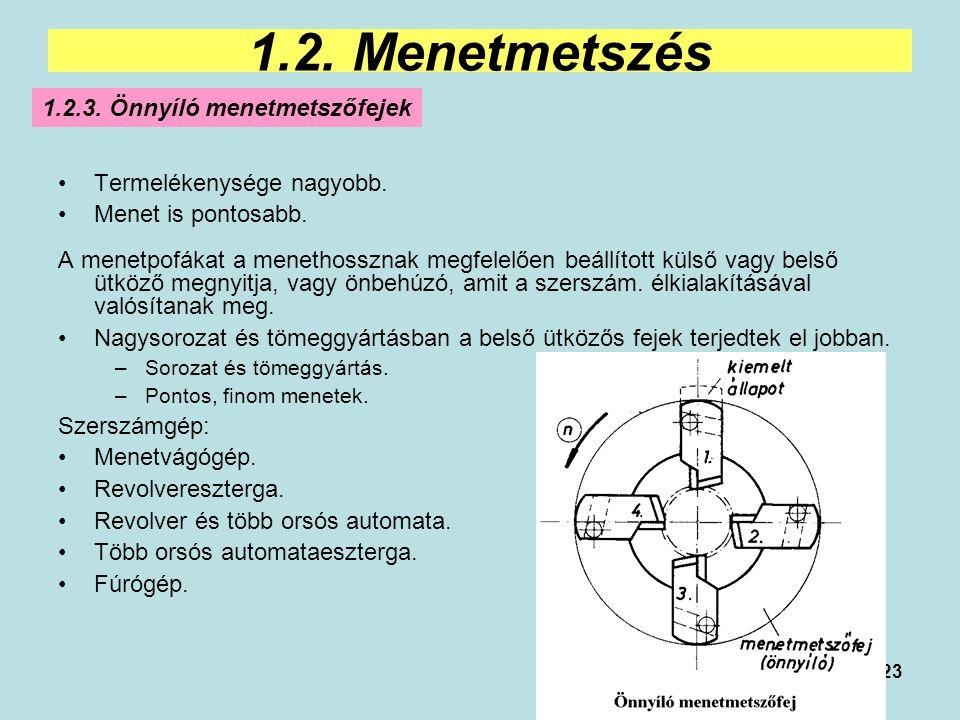 1.2. Menetmetszés 1.2.3. Önnyíló menetmetszőfejek
