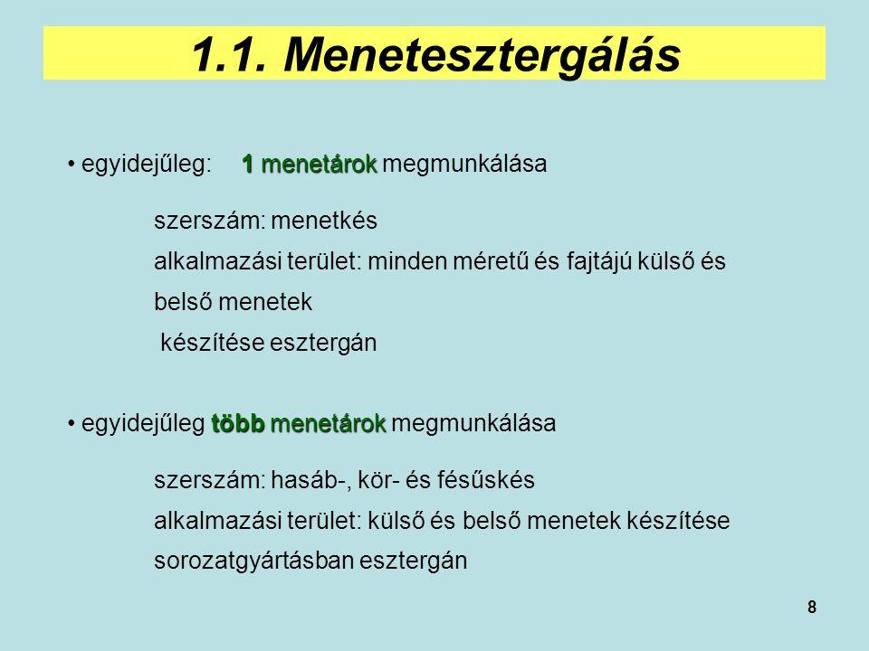 1.1. Menetesztergálás egyidejűleg: 1 menetárok megmunkálása