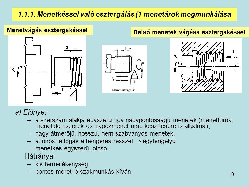 1.1.1. Menetkéssel való esztergálás (1 menetárok megmunkálása