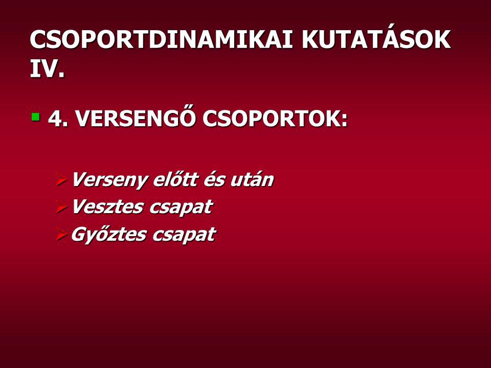 CSOPORTDINAMIKAI KUTATÁSOK IV.