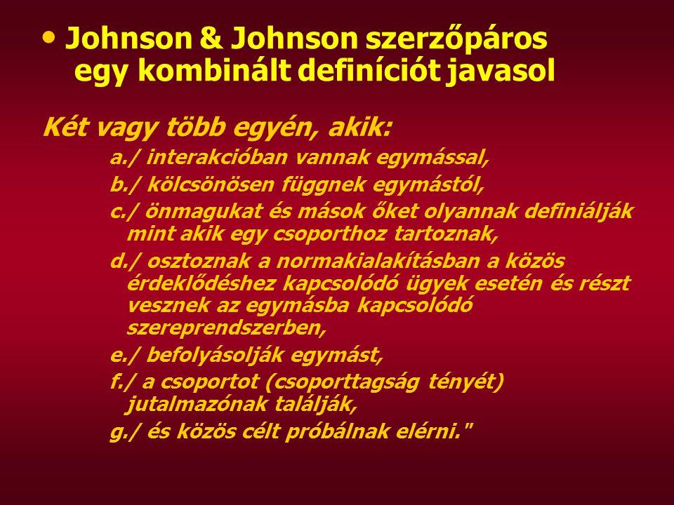 Johnson & Johnson szerzőpáros egy kombinált definíciót javasol