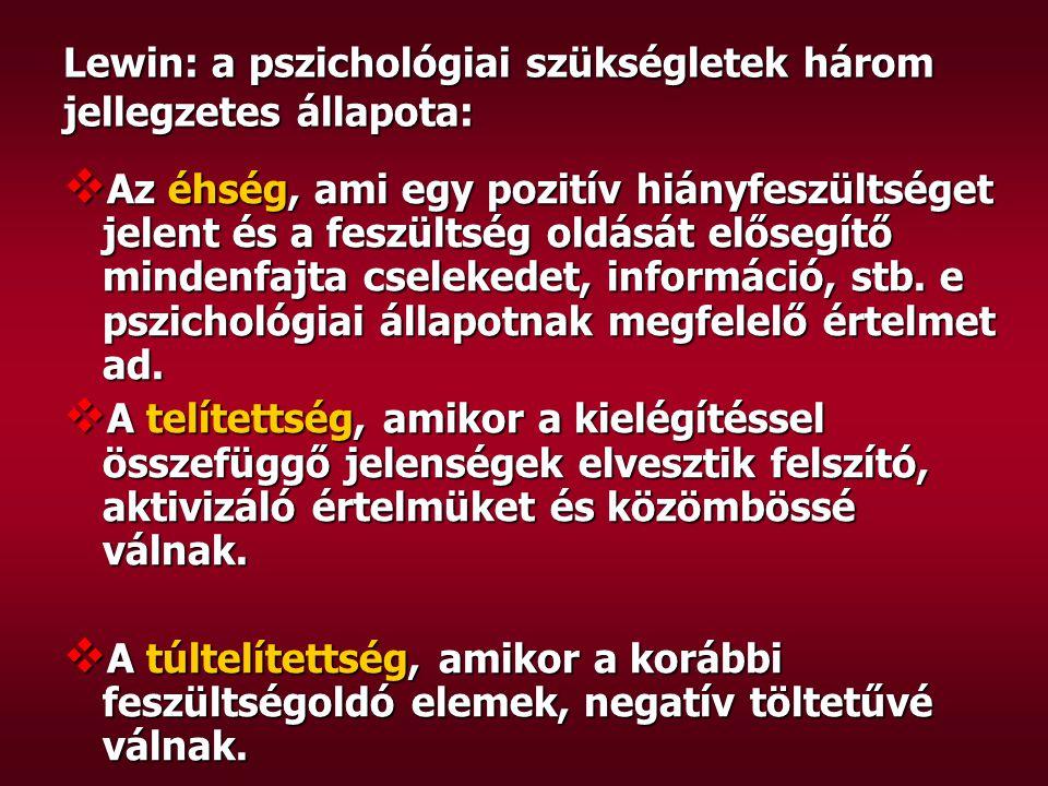 Lewin: a pszichológiai szükségletek három jellegzetes állapota: