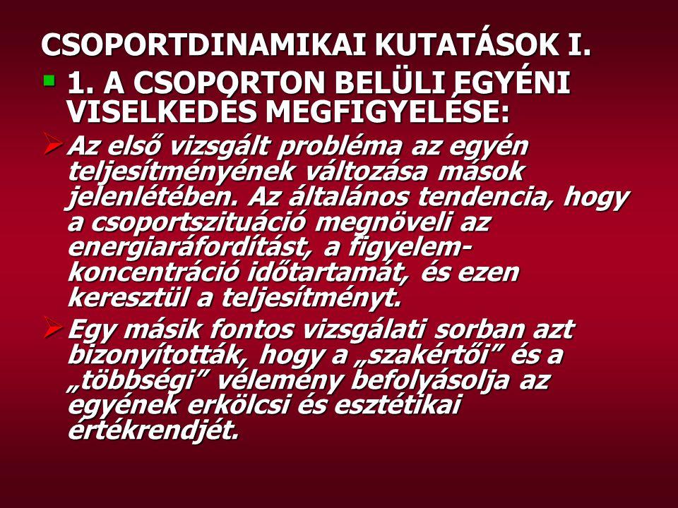 CSOPORTDINAMIKAI KUTATÁSOK I.