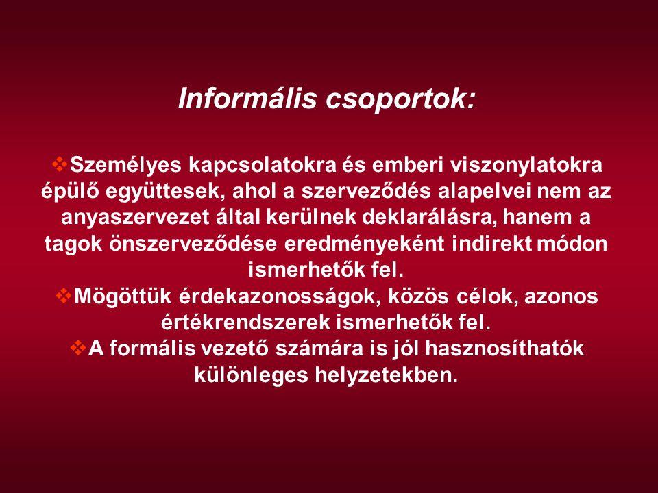 Informális csoportok: