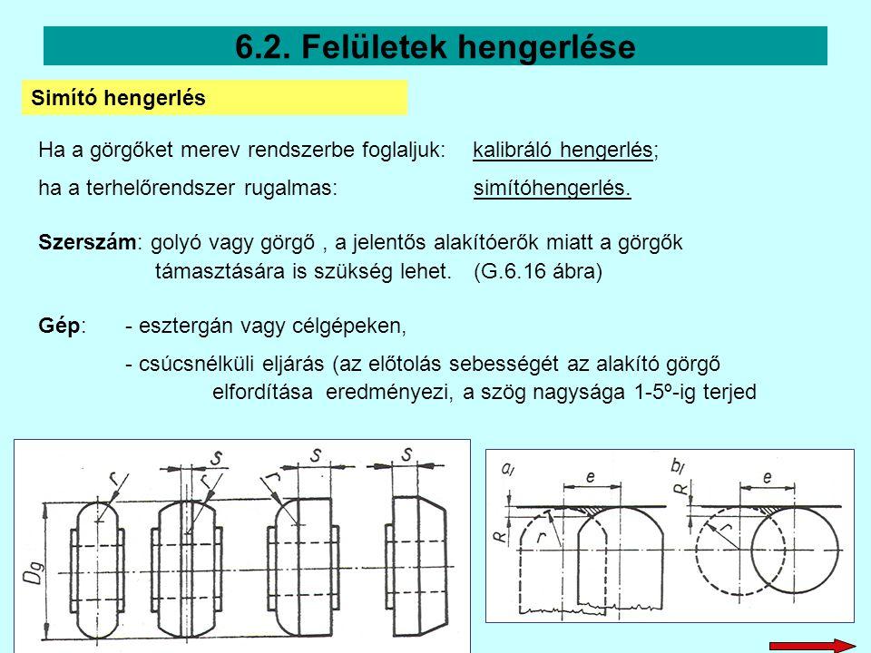 6.2. Felületek hengerlése Simító hengerlés