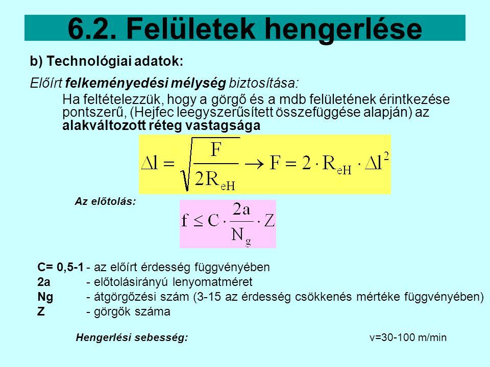 6.2. Felületek hengerlése b) Technológiai adatok:
