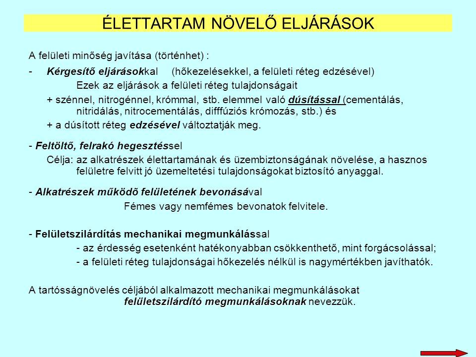 ÉLETTARTAM NÖVELŐ ELJÁRÁSOK
