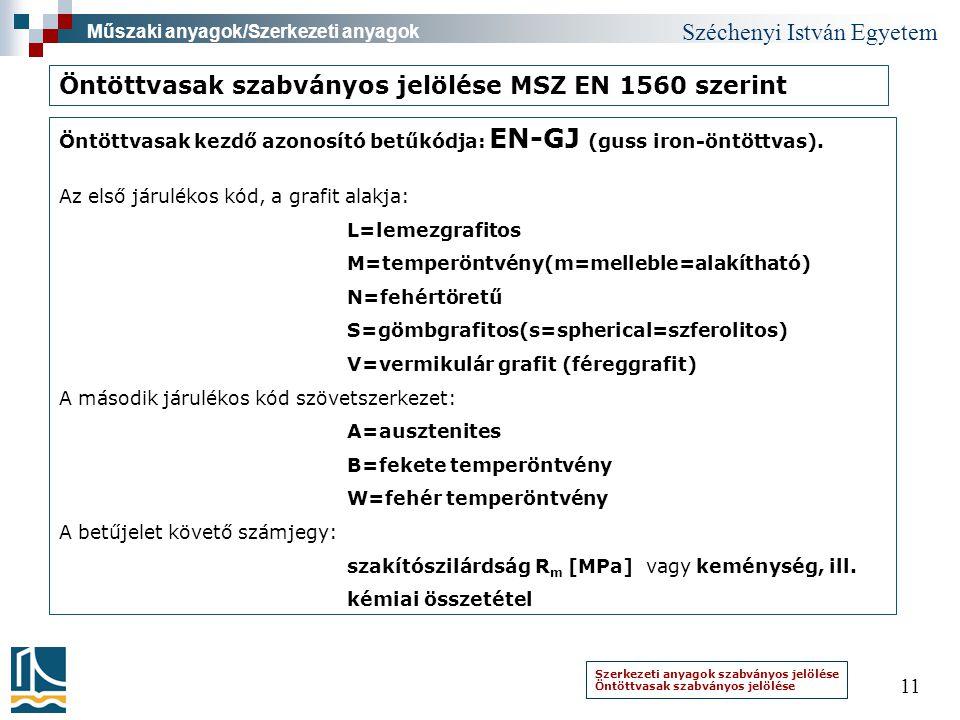 Öntöttvasak szabványos jelölése MSZ EN 1560 szerint