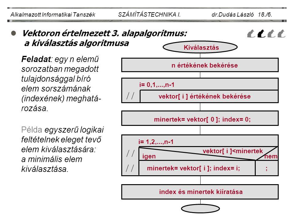 Vektoron értelmezett 3. alapalgoritmus: a kiválasztás algoritmusa