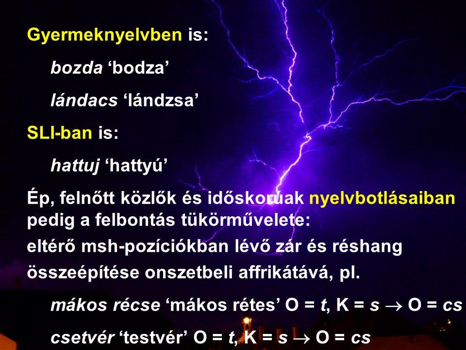 Gyermeknyelvben is: bozda 'bodza' lándacs 'lándzsa' SLI-ban is: hattuj 'hattyú' Ép, felnőtt közlők és időskorúak nyelvbotlásaiban.
