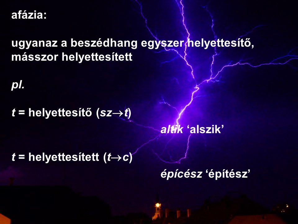 afázia: ugyanaz a beszédhang egyszer helyettesítő, másszor helyettesített. pl. t = helyettesítő (szt)