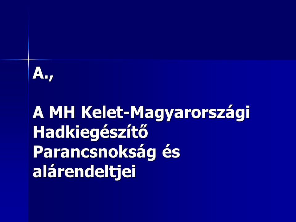 A., A MH Kelet-Magyarországi Hadkiegészítő Parancsnokság és alárendeltjei