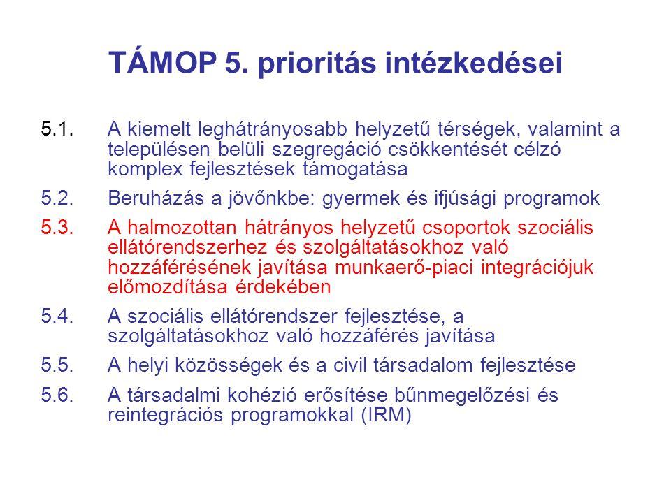 TÁMOP 5. prioritás intézkedései