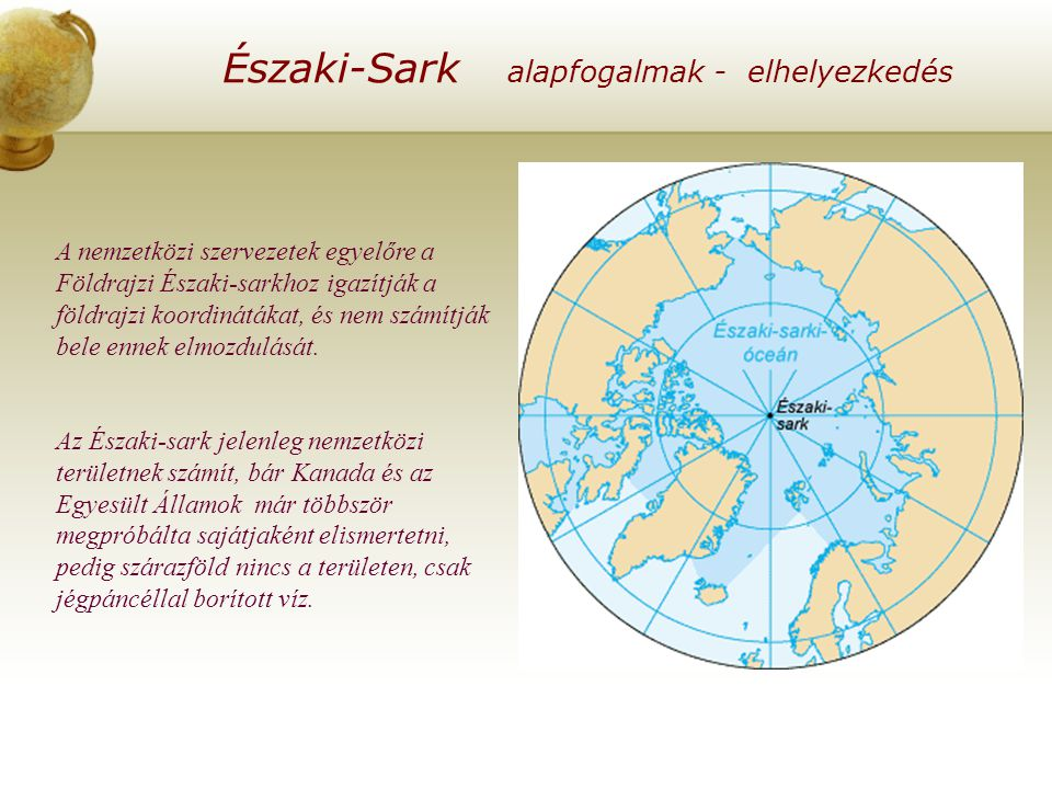 Északi-Sark alapfogalmak - elhelyezkedés