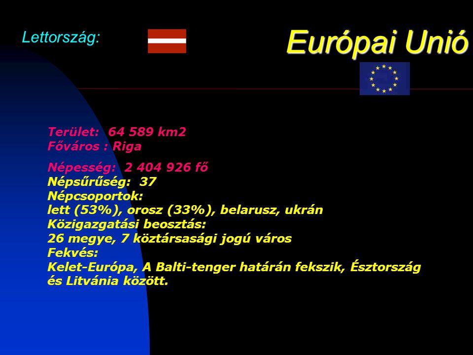 Európai Unió Lettország: Terület: 64 589 km2 Főváros : Riga