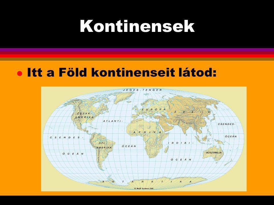Kontinensek Itt a Föld kontinenseit látod: