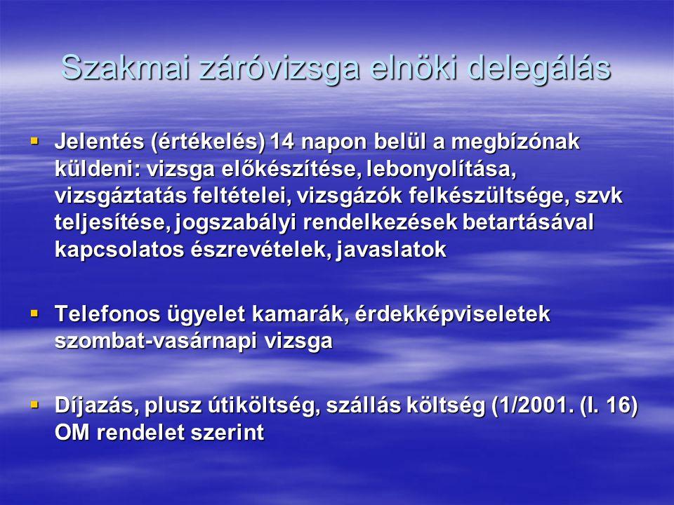 Szakmai záróvizsga elnöki delegálás