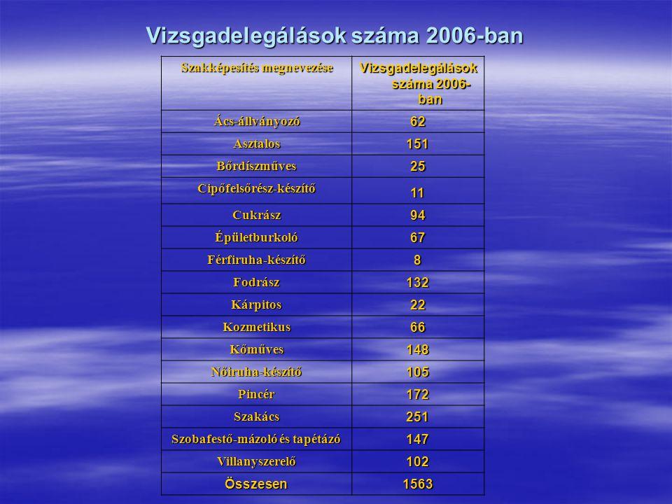 Vizsgadelegálások száma 2006-ban