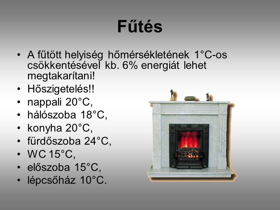 Fűtés A fűtött helyiség hőmérsékletének 1°C-os csökkentésével kb. 6% energiát lehet megtakarítani! Hőszigetelés!!