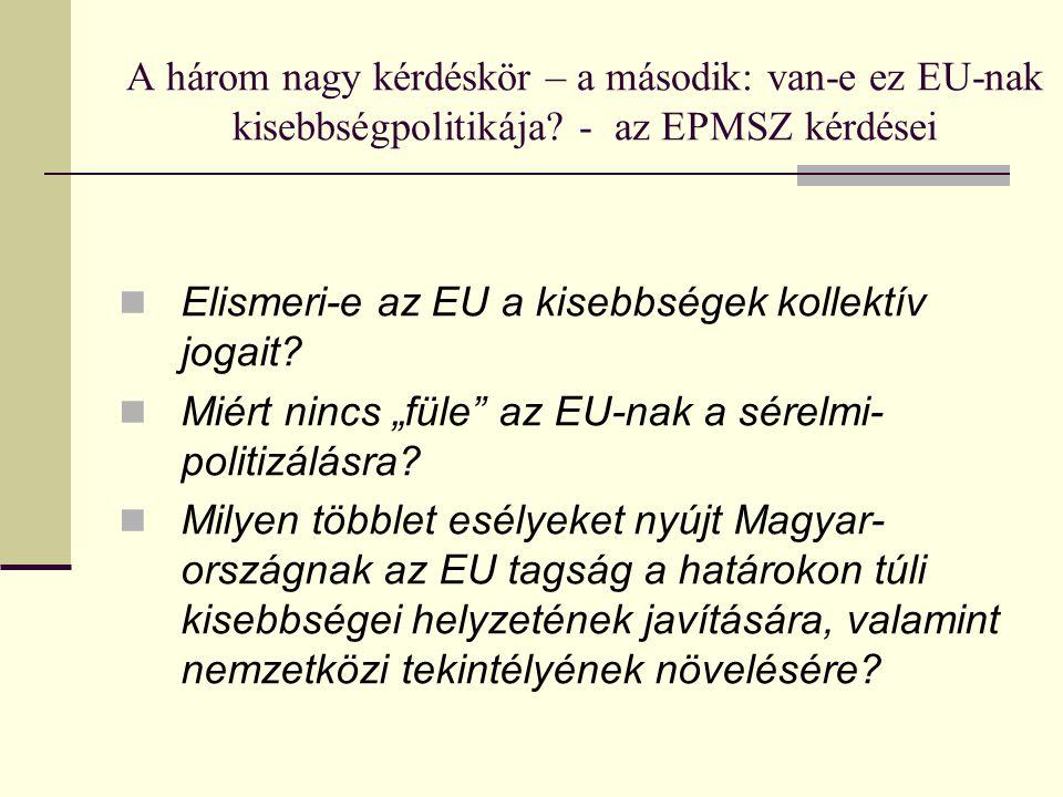 A három nagy kérdéskör – a második: van-e ez EU-nak kisebbségpolitikája - az EPMSZ kérdései
